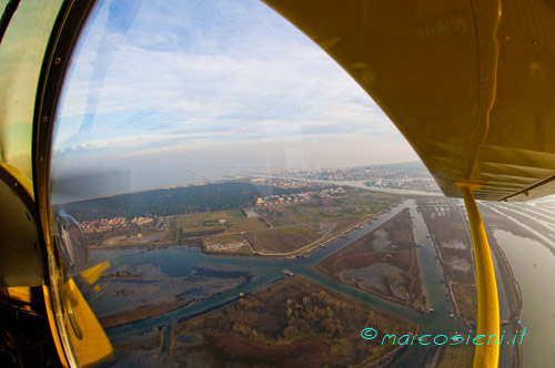 Flying on Ravenna lagoon