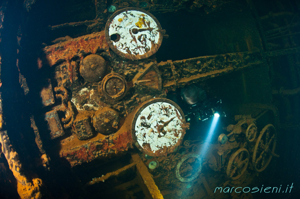 Tho telegraphs and the clock in Rio De janeiro Maru engine room
